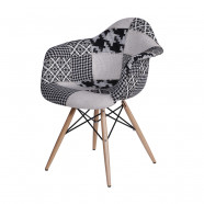 Cadeira Patch Work Eames Black and White Base em Madeira lateral