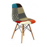 Cadeira DSR Eames Patchwork Mix Wood 1102ORBMIX